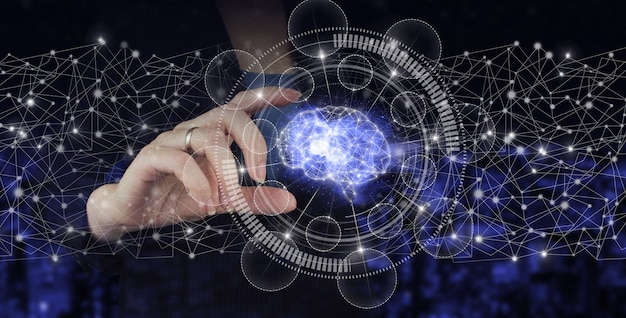 Artificial intelligence industry 4.0. hand hold digital hologram brain sign on city dark blurred background. global database and artificial intelligence.