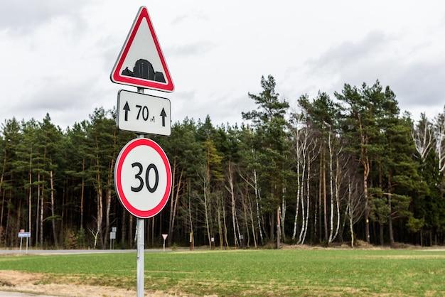 人工的な不規則性と制限速度30サイン