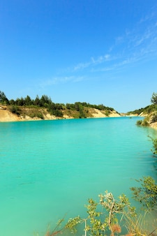 Artificial lake formed on the site of the chalk quarries.  belarus