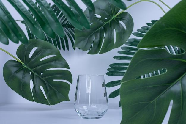Foglie artificiali e bicchiere vuoto su bianco.