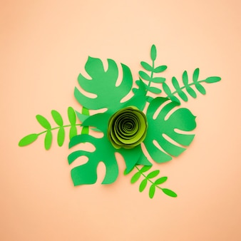 Artificial leaves paper cut style and green rose