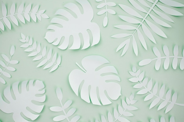 Artificial leaves paper cut style with grey background