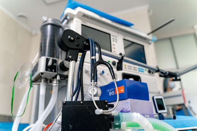 Artificial lung ventilation apparatus in modern clinic. ventilation of the lungs with oxygen. mask for intubation.