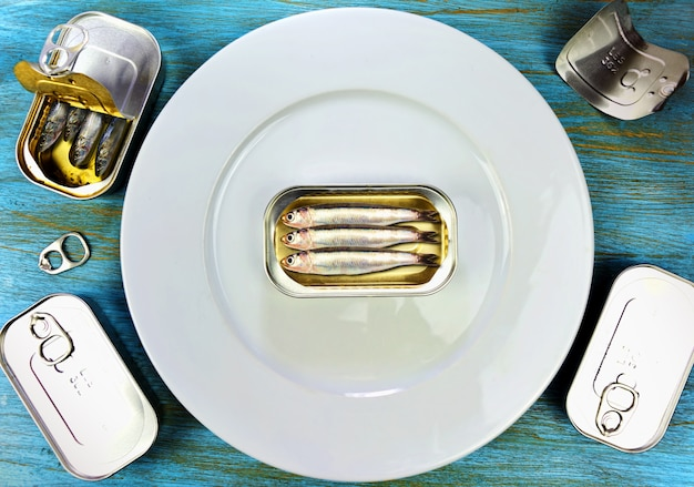 Artificial lure sardines on the plate to eat