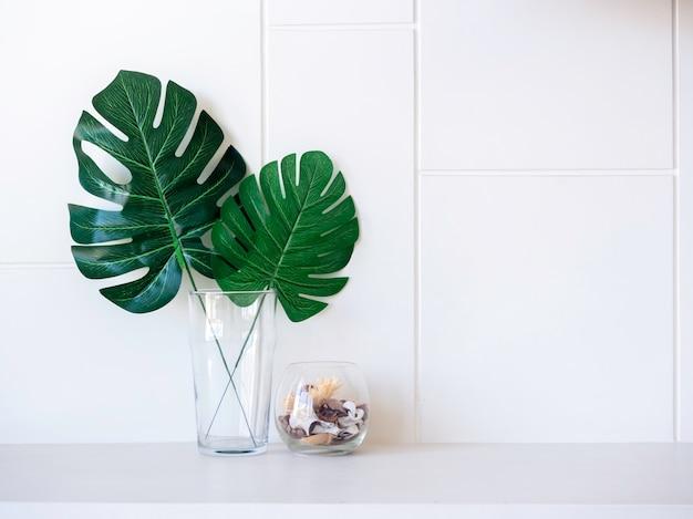 Искусственные пальмовые листья monstera в высоком прозрачном стекле с ракушками в коротком стекле украшают белую полку на современном стенном фоне с копией пространства.