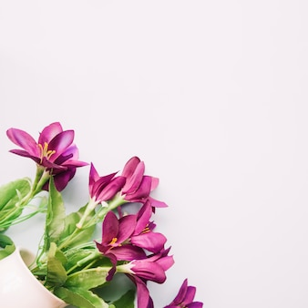 Artificial purple flowers in vase on white backdrop