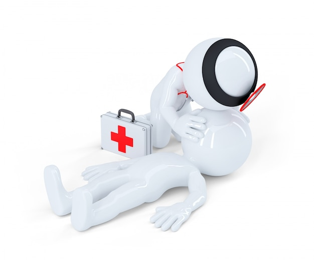 Artificial respiration. first aid help concept