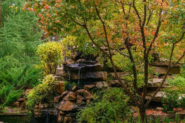 Искусственная скала с водопадом среди осенних декоративных кустов в парке