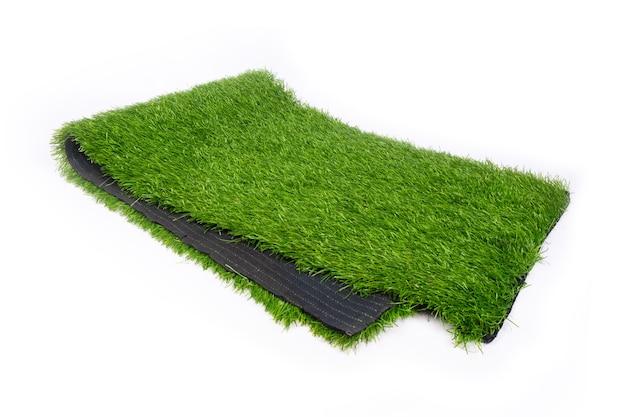 스포츠 분야, 플라스틱 잔디를위한 인조 잔디. 프리미엄 사진
