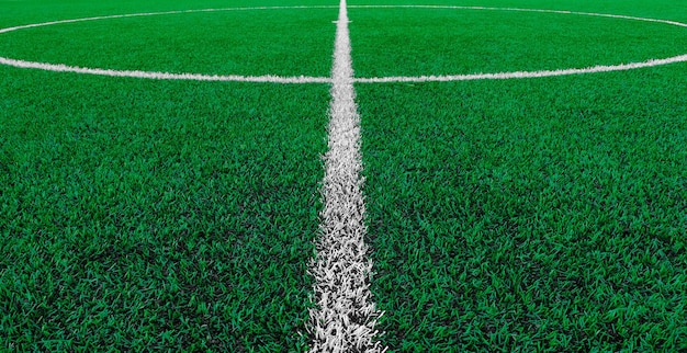 Artificial turf soccer field with center marker line