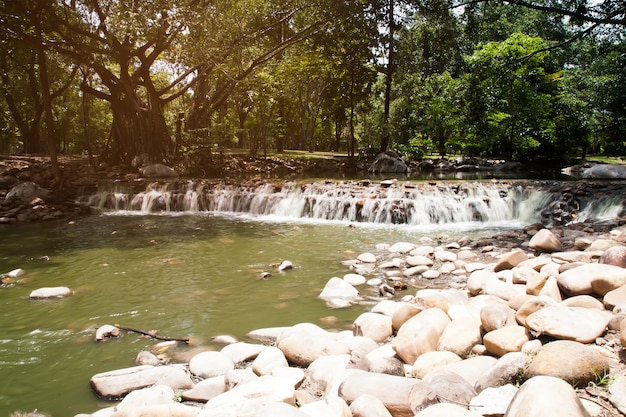 Artificial waterfall in the park