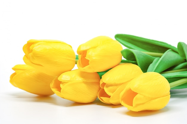 Artificial yellow tulips on white