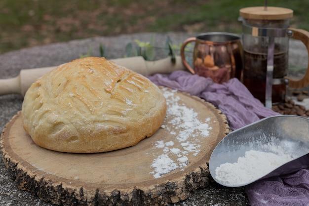 Artisan bread on wooden board