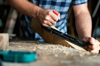 Artisan working with wood