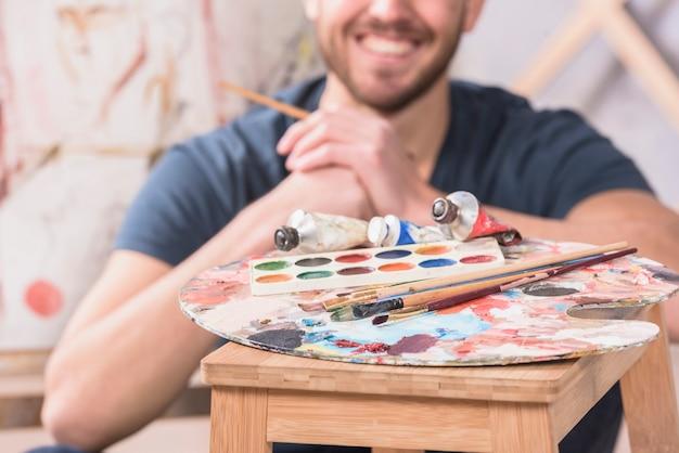 Artist behind paint materials