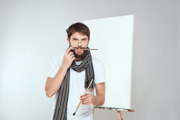 Artist painting on canvas hobby creative lifestyle
