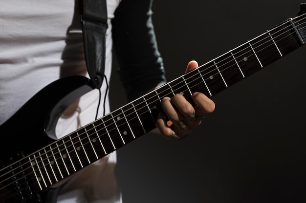 Artist playing guitar close-up