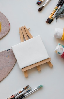 Artist props on table