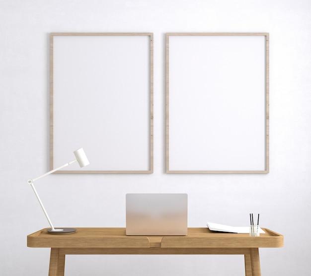 나무 테이블에 아티스트 룸 노트북