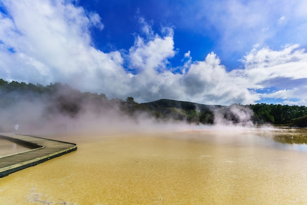 Artist's palette pool at wai-o-tapu geothermal area , rotorua, north island of new zealand