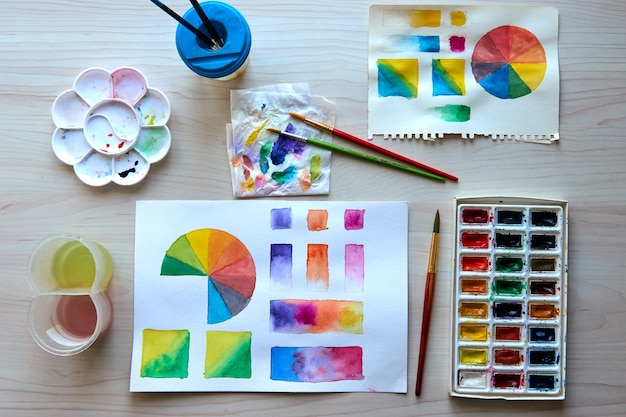 アーティストの職場。アート用品のブラシ、絵の具、水彩画。工房。描画レッスン。クリエイティブワークショップ。デザイン場所。水彩カラーホイールとパレット。色彩理論初心者の趣味のレッスン。