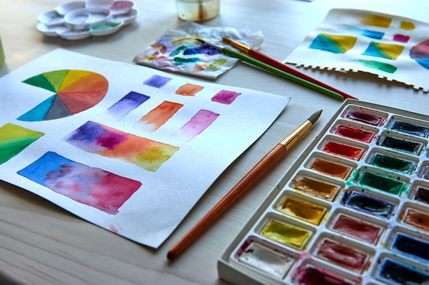 Artist's workplace. art supplies brushes, paints, watercolors. art studio. drawing lessons. creative workshop. design place. watercolor color wheel and palette. color theory beginner hobby lessons.