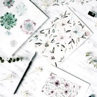 アーティストワークスペース。花と水彩画