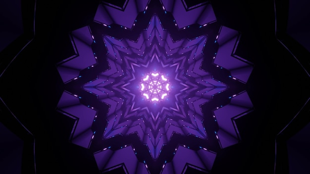 Artistic 3d illustration of snowflake shaped ornamental purple pattern with glowing lights as abstract background