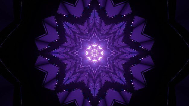 Artistic 3d illustration of snowflake shaped ornamental purple pattern with glowing lights as abstract background Premium Photo