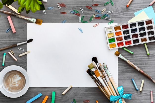 Artistic creative background art work supplies and mockup blank paper, flat lay