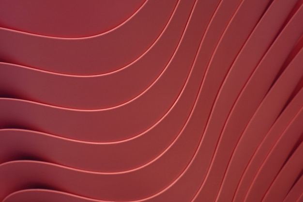 Artistic curved lines of the piled up maroon color plastic bowls, for pattern and background