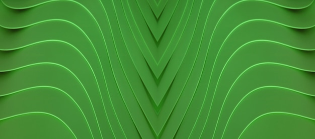 Artistic curving lines of the piled up green colored acrylic containers for abstract background
