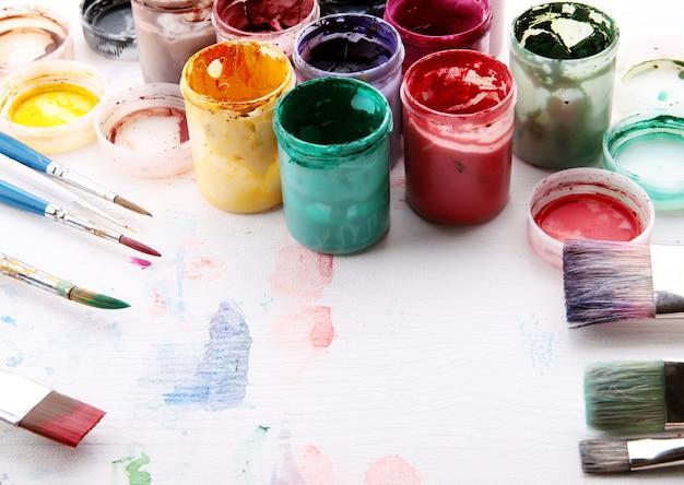 Artistic equipment: paint, brushes