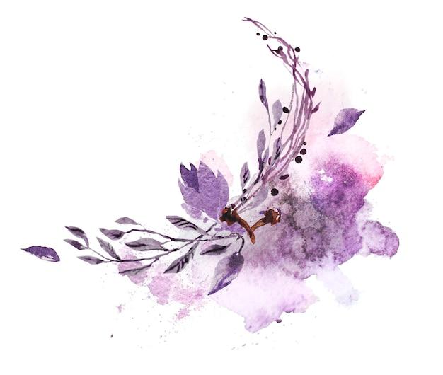 ペイントドロップで芸術的な手描きの水彩画の構成