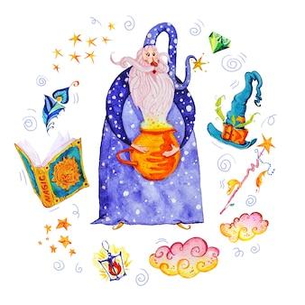 白い背景で隔離の手描きの芸術的な要素を持つ芸術的な魔法のイラスト-ウィザード、帽子、杖、魔法の本。