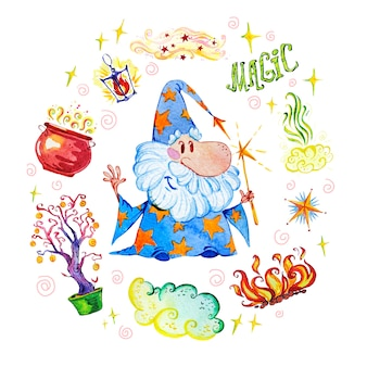 Artistic magic illustration with hand drawn artistic elements isolated on white background - wizard, hat, wand, pot, lantern.