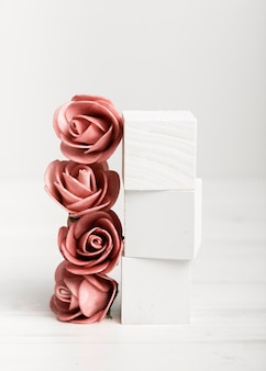 Artistic photo roses and white cubes
