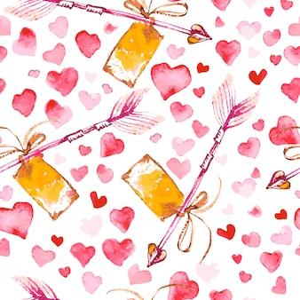 Художественный бесшовный образец с акварельной рукой оттянутые сердца, изолированные на белом фоне. рисование краской. любовно-романтическая тема.