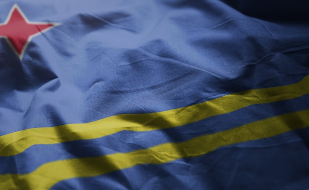 Aruba flag rumpled close up