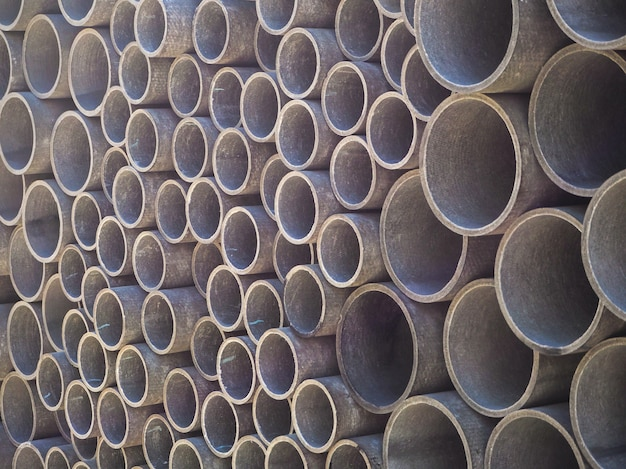 Asbestos cement pipes used for drainage construction. texture for background.