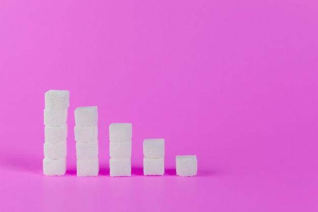 Восходящие стопки кубиков сахара на розовом