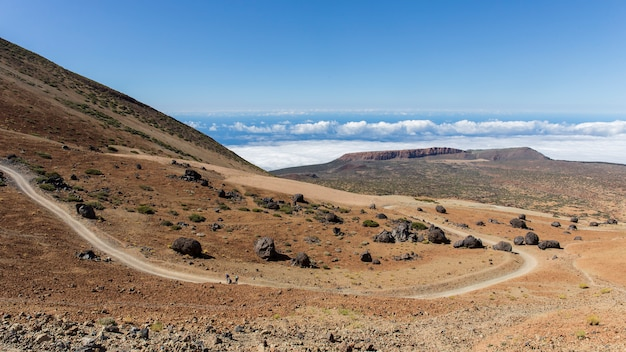 Ascent to the peak of teide by the white mountain path.