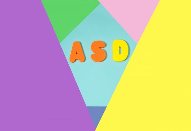 Asd. autism spectrum disorder from color letters and color background