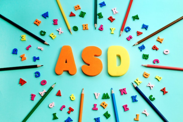 Asd, autism spectrum disorder from color letters and color pencils