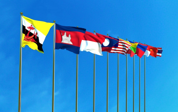 Asean economic community flags on the blue sky background