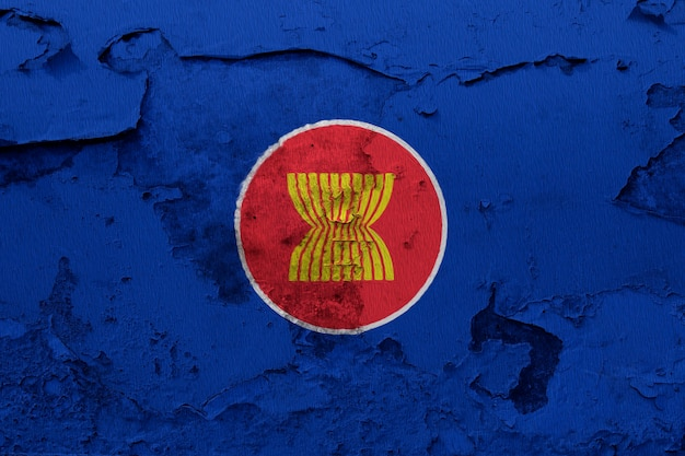 Asean flag painted on grunge wall