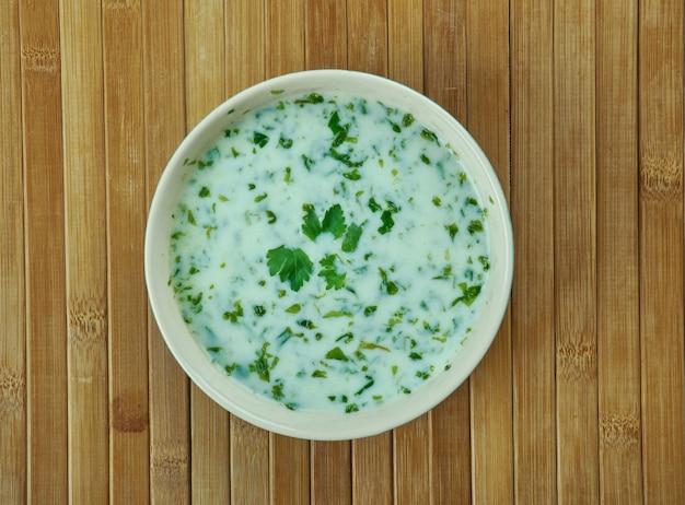 Йогуртовый суп ash-e doogh из азербайджанского региона северо-западного ирана