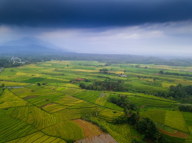 Asia beauty landscape aerial view in the morning indonesia