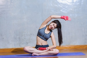 Asia girl is practicing yoga