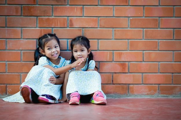 Asia little girl sitting with friend on brick wall background